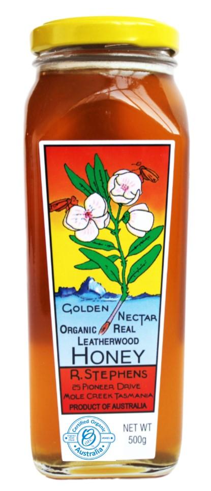 Pure Tasmanian Organic Leatherwood Honey 500g jar
