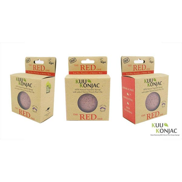 New!! Konjac Facial Exfoliating Sponge with French Red Clay (mature/dull skin)